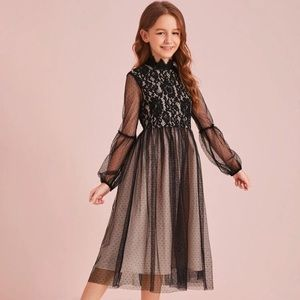 Mock Neck Lace Bodice Mesh Overlay Dress
